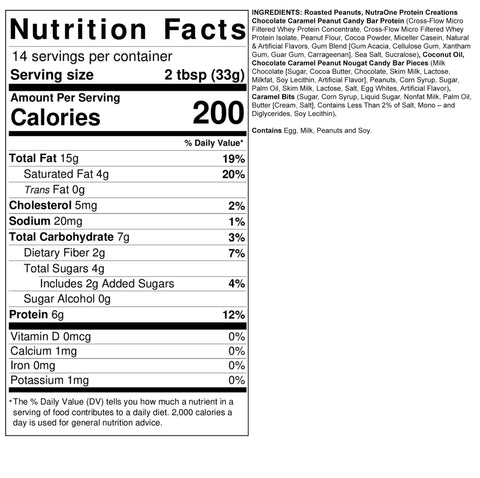 Fit Butters Chocolate Caramel Candy Bar Peanut Butter Nutra One Protein Ingredients Nutrition Label Facts