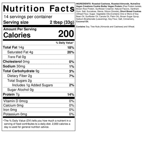 Fit Butters Cookie Butter Cashew Almond Butter Vegan Biscoff Protein Nutra One Nut Spread Ingredients Nutrition Label Facts