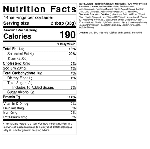 Fit Butters Cookies Cream Rory Monster Cookie Madness Protein Nutrabio Peanut Cashew Butter Spread Nutrition Label Facts