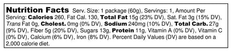 Big Spoon Roasters Cranberry Cashew Handcrafted Peanut Butter Nut Bar Protein Nutrition Label Facts