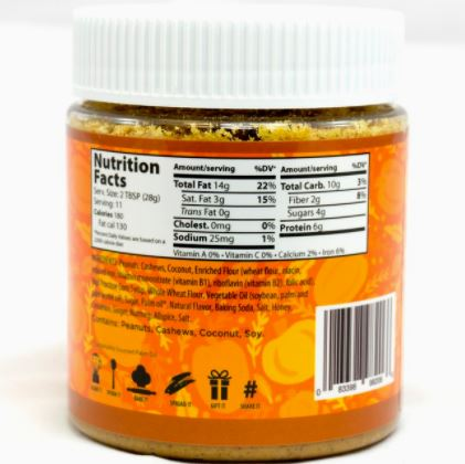 Epic Spreads basic pumpkin pie peanut cashew coconut spread nutrition label ingredients