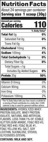 Dymatize iso 100 Fruity Pebbles Cereal Protein Powder Post Nutrition Supplement Label Facts