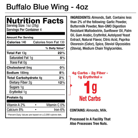 Legendary Foods Almonds Protein Low Carb Keto Buffalo Blue Wing Seasoned Nutrition Label Facts