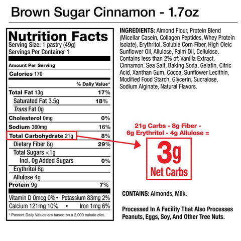 Legendary Foods Brown Sugar Cinnamon Tasty Pastry Box Nutrition Label Facts