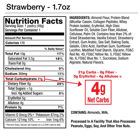 Legendary Foods Tasty Pastry Strawberry Nutrition Label Fact