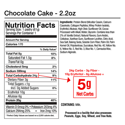 Legendary Foods Tasty Pastry Pop Tart Cake Style Chocolate Cake Nutrition Label Facts