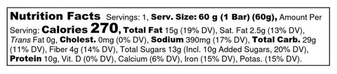 Big Spoon Roasters Lemon Blueberry Handcrafted Cashew Butter Protein Bar Nutrition Label Facts