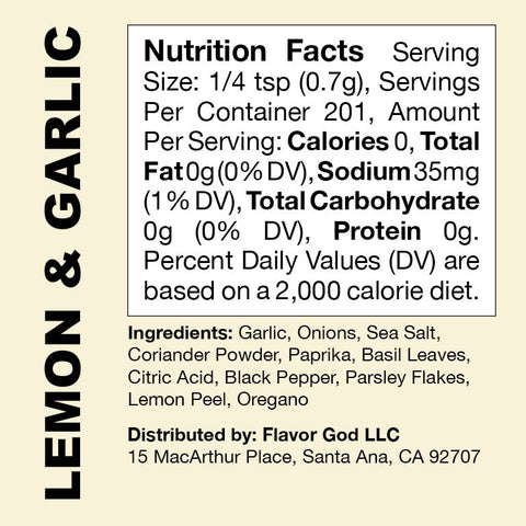Flavor God Lemon & Garlic Seasoning Nutrition Facts Label