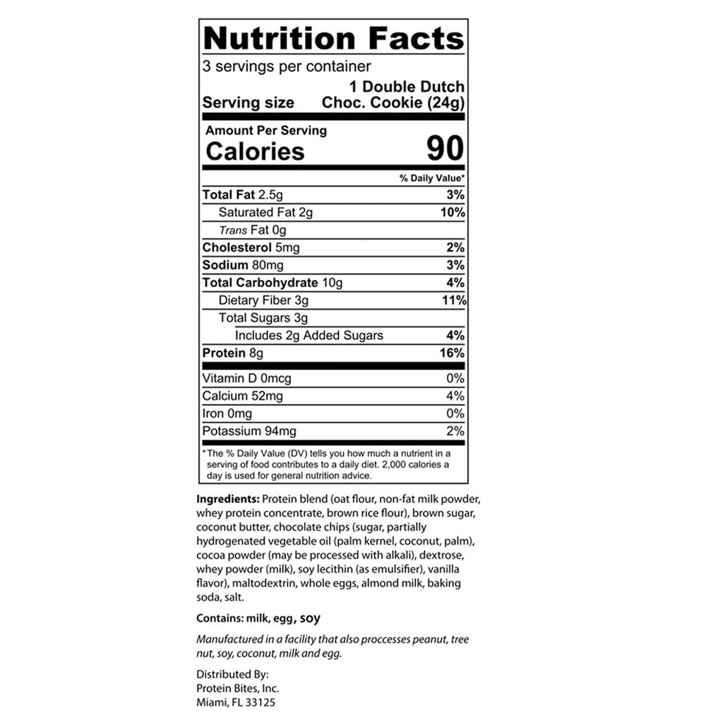 my protein bites double dutch chocolate nutrition facts label