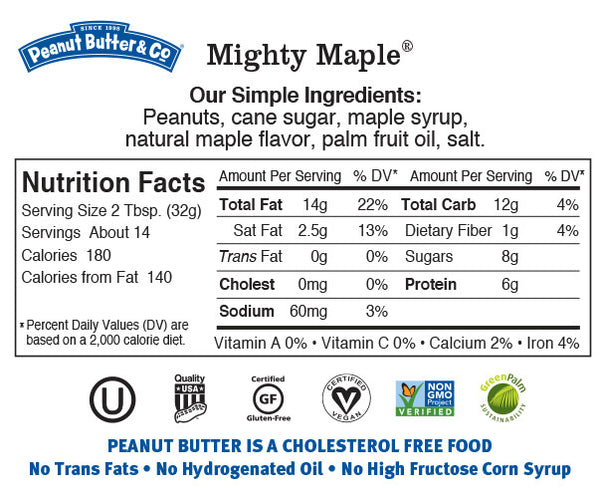 Peanut Butter & Co Mighty Maple Nutrition Facts Label