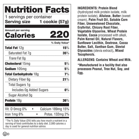 Lenny Larry Boss Cookie Chocolate Chunk New Protein Cookies Nutrition Label Facts