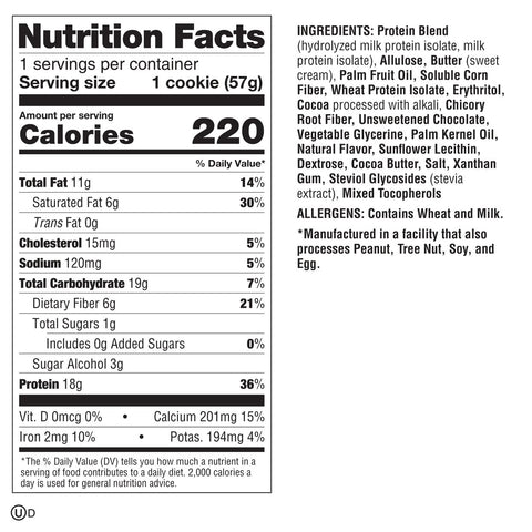 Lenny Larry Protein Boss Cookie New Triple Chocolate Chunk Nutrition Ingredients label Facts