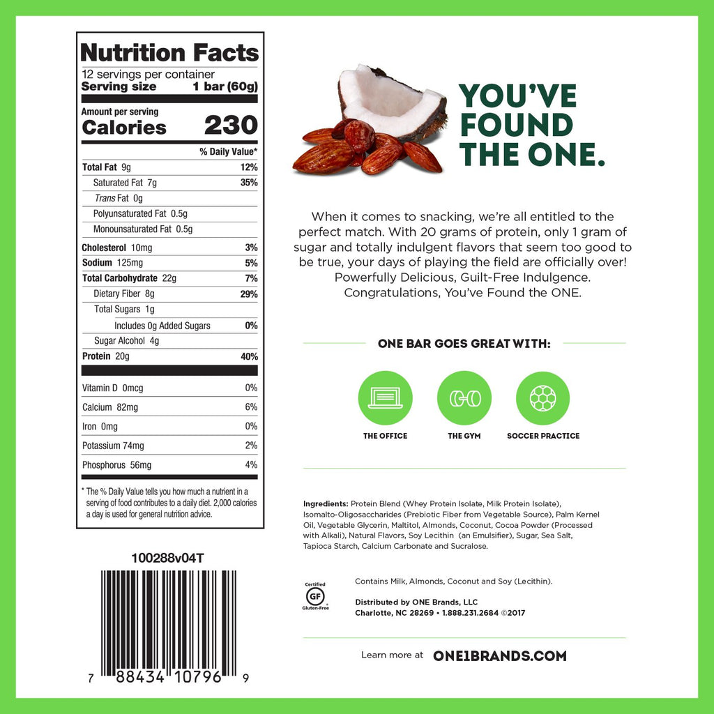 ohyeah one bar almond bliss nutrition facts label