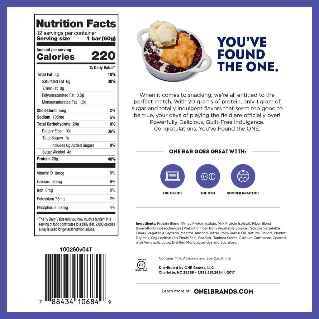 ohyeah one bar blueberry cobbler nutrition facts label info