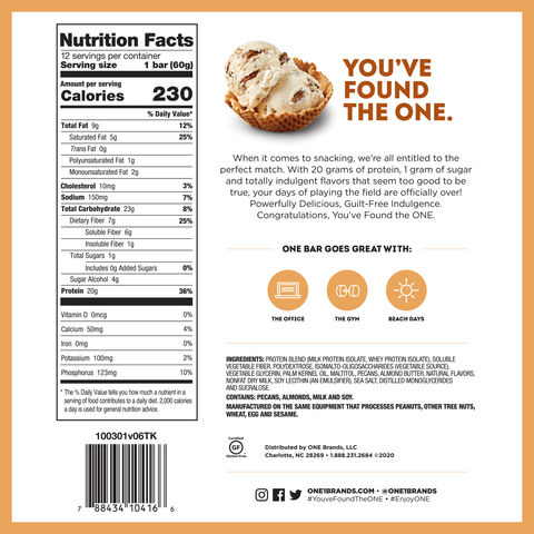 Oh YEah One Bar Butter Pecan New Flavor Protein bar Nutrition Label Facts