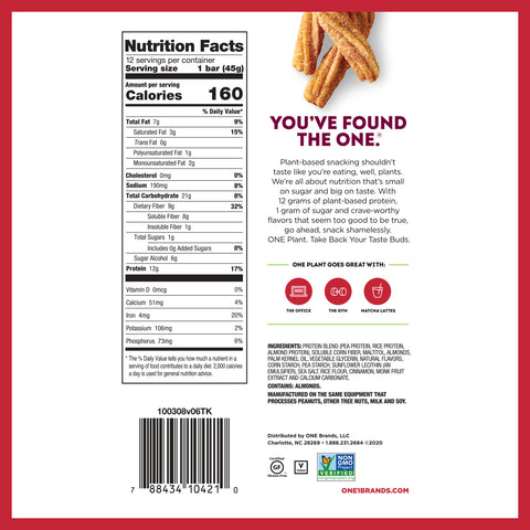 Ohyeah One Bar Plant Based Protein Bar New Flavor Churro Nutrition Label Facts