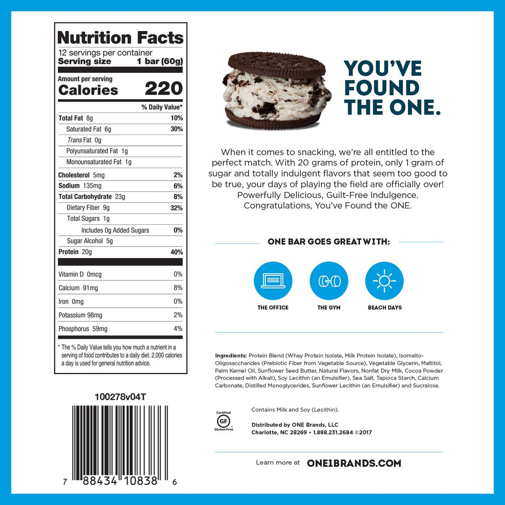ohyeah one bar cookies and cream bar nutrition facts label
