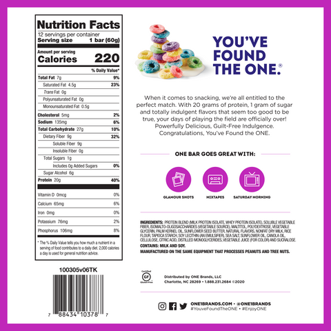 ohyeah one bar protein fruity cereal new limited edition box nutrition supplement label facts