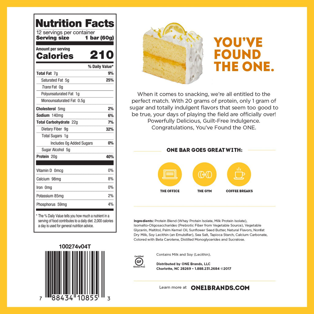 oh yeah one bar lemon cake nutrition facts label