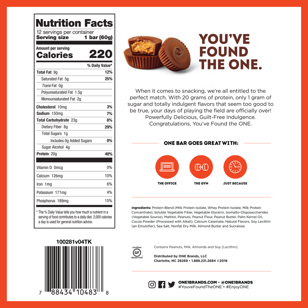 new one bar chocolate peanut butter cup label
