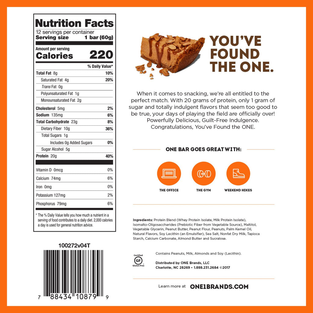 ohyeah one bar peanut butter pie nutrition facts label info
