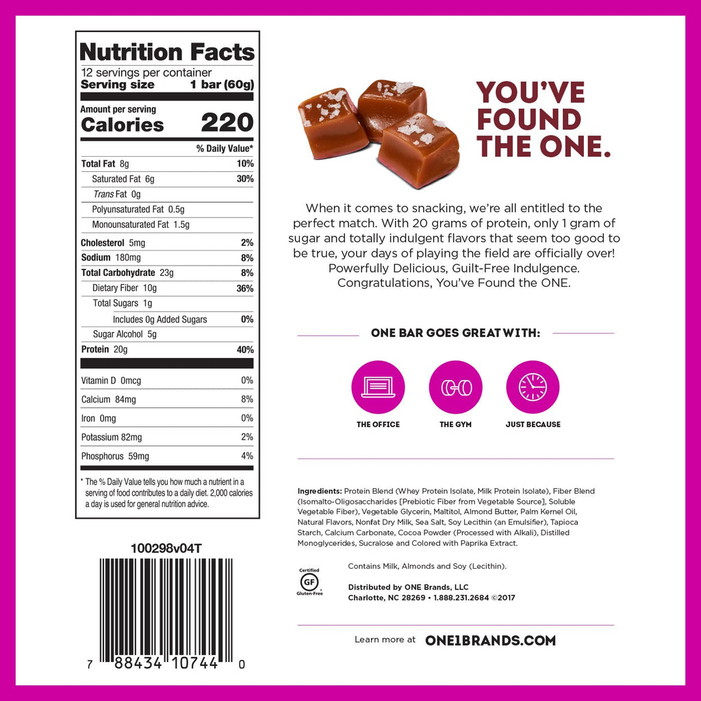 one bar salted caramel nutrition facts label info