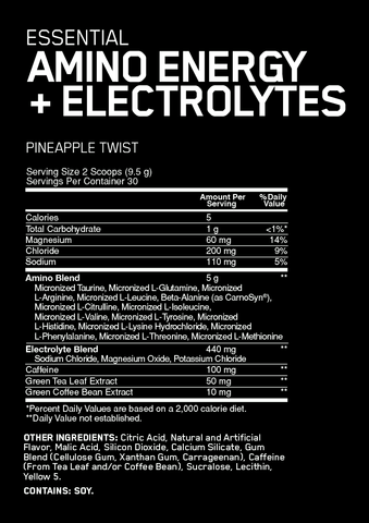 Optimum Nutrition Amino Energy with electrolytes supplement facts
