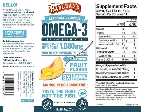 Barleans Omega 3 Fish Oil mango peach smoothie nutrition facts supplement ingredients