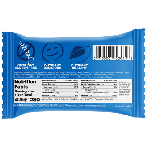 Outright Bar - Chocolate Chip Almond Butter Real Food Protein Bar Nutrition Label Facts