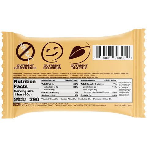 Outright Bar - Banana Walnut Peanut Butter Real Food Protein MTS Nutrition Label Facts