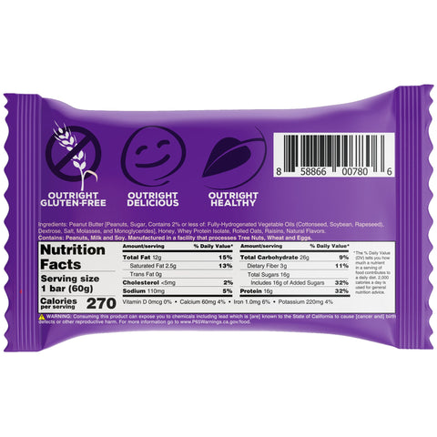 Outright Bar - Oatmeal Raisin Peanut Butter Real Food Protein Bar MTS Nutrition Label Facts
