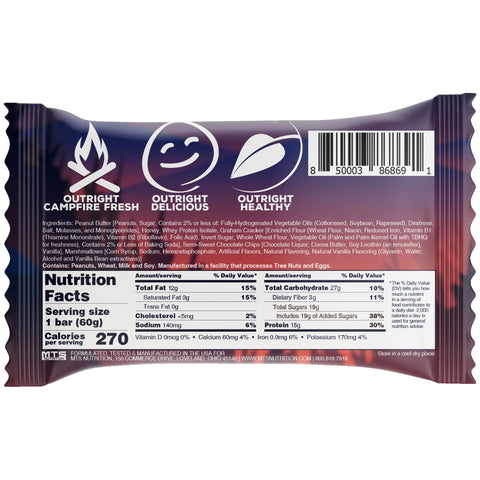 Outright Bar MTS Nutrition Whole Food Protein Bar Smores Peanut Butter Nutrition Label Facts