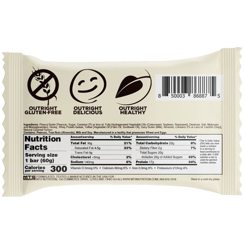 Outright Bar - Toffee Peanut Butter Real Food Protein Bar MTS Nutrition Label Facts