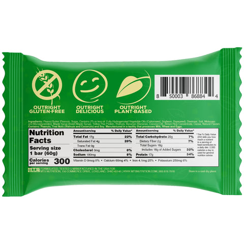 Outright Plant Based Bar - Banana Walnut Peanut Butter Real Food Protein Bar Vegan MTS Nutrition Label Facts