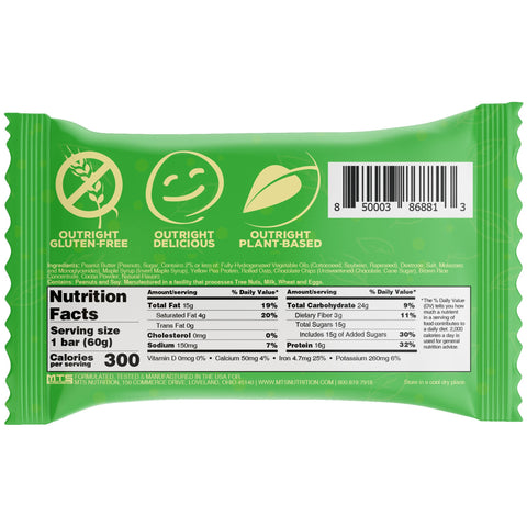 Outright Bar Vegan Plant Based Peanut Butter Chocolate Chip MTS Nutrition Label Facts