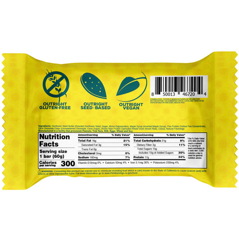 Outright Bar MTS Nutrition Sunflower Seed Butter Protein Nutrition Label Facts