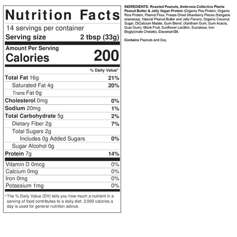 Fit Butters Crunchy Peanut Butter Jelly Ambrosia Plant Based Protein Vegan Nut Spread Ingredient Nutrition Label Facts
