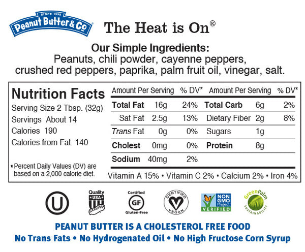 Peanut Butter & Co The Heat is On Nutrition Facts Label