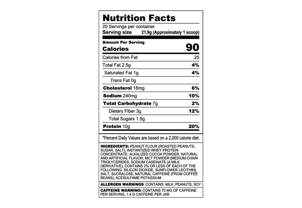 angry mills chocolate chaos powdered peanut butter nutrition facts label