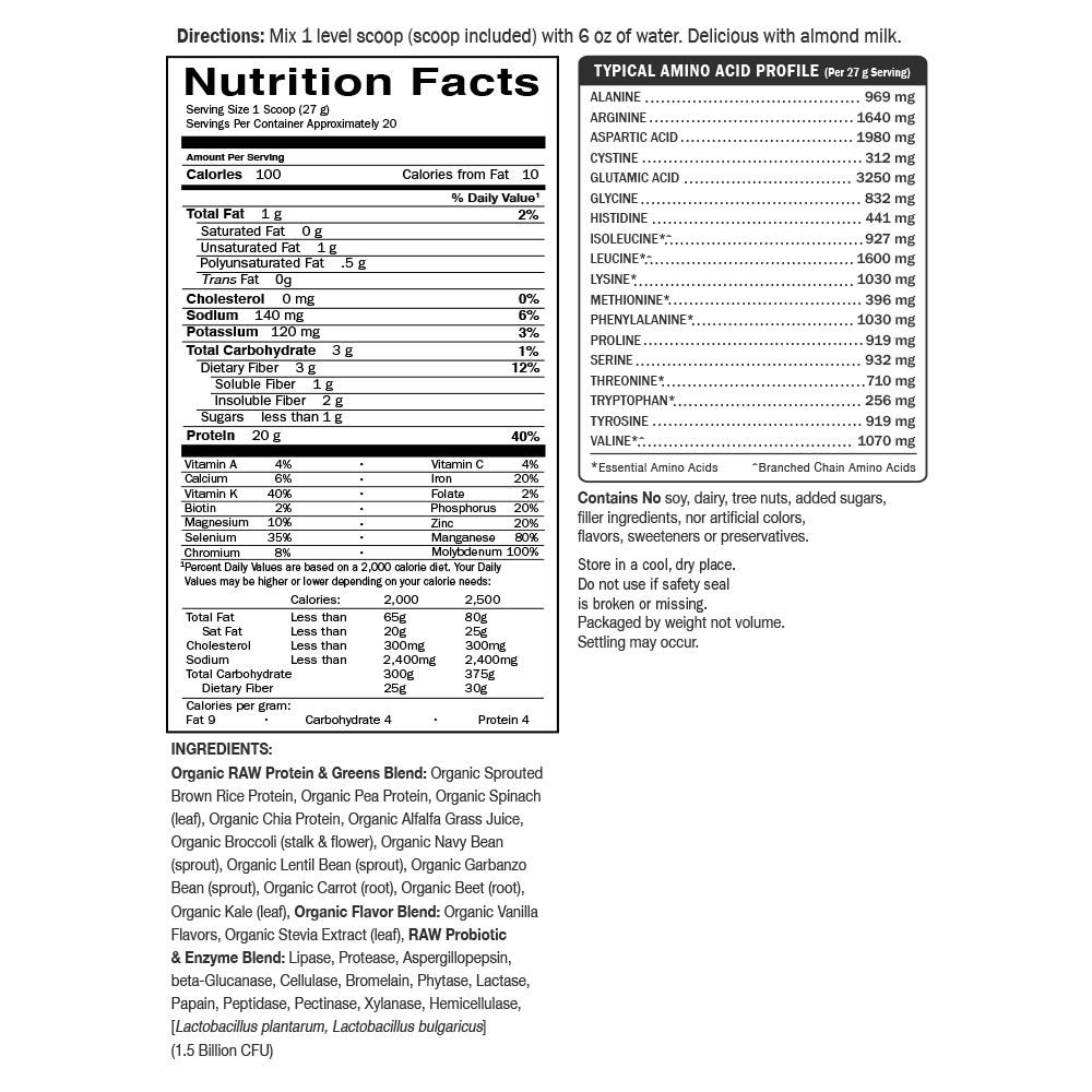 Garden of Life Raw Protein & Greens Nutrition Facts Label Vanilla flavor