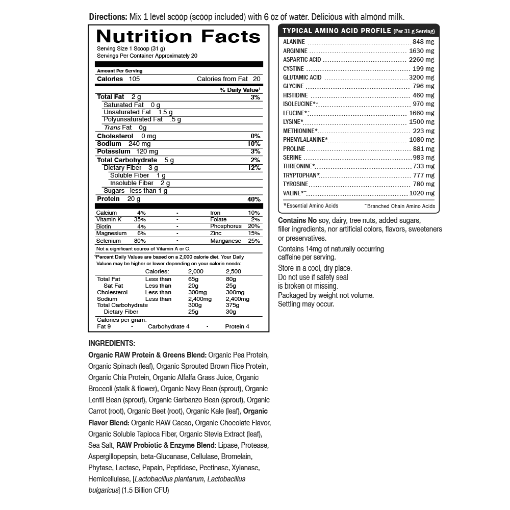 chocolate protein & Greens nutrition facts label by garden of life