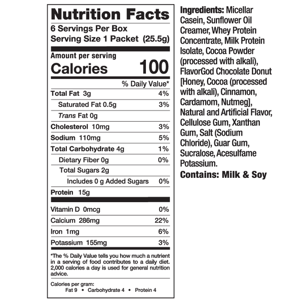 mhp instant protein pudding nutrition facts label