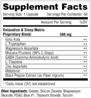 Metabolic Nutrition Relaxitrol Supplement Facts Label