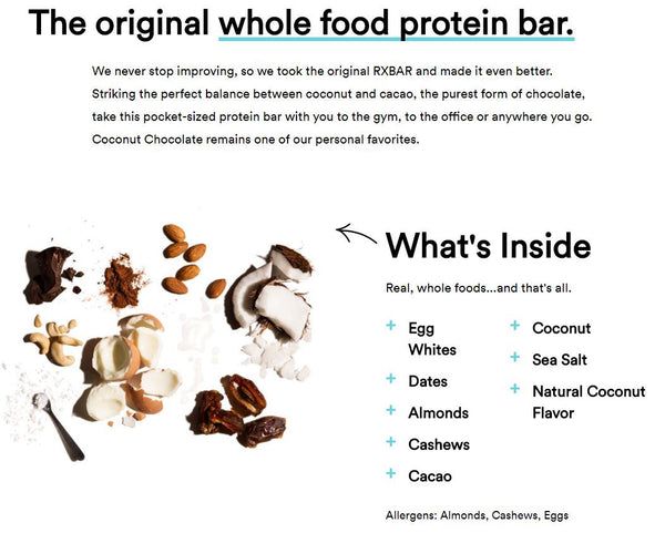 RxBar Chocolate Coconut Ingredient information whole 30 approved paleo friendly nutrition