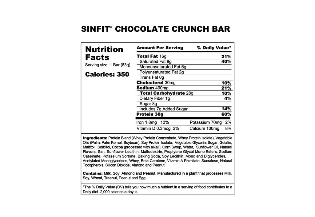 sinfit chocolate crunch protein bar nutrition facts label