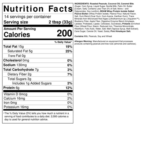 Fit Butters Sea Salted Caramel Pretzel Whey Protein Isolate Peanut Butter Beam Spread Ingredient Nutrition Label Facts
