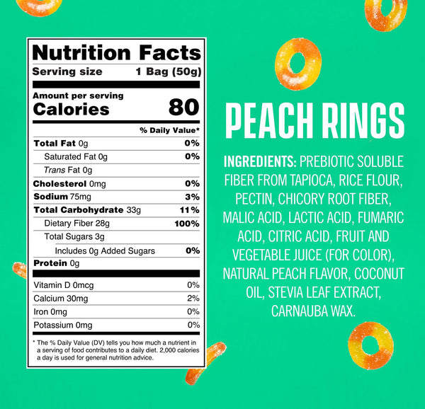 Smart Sweets Peach Rings Nutrition Facts Supplement Information Ingredients