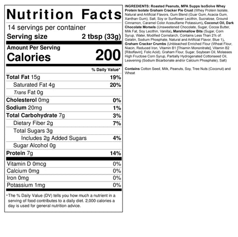 Fit Butters Protein MPA Supps S'mores Peanut Butter Spread Ingredient Label Facts Nutrition