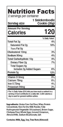 MPB My Protein Bites Cookies New Mea Pro Snickerdoodle Nutrition Label Facts