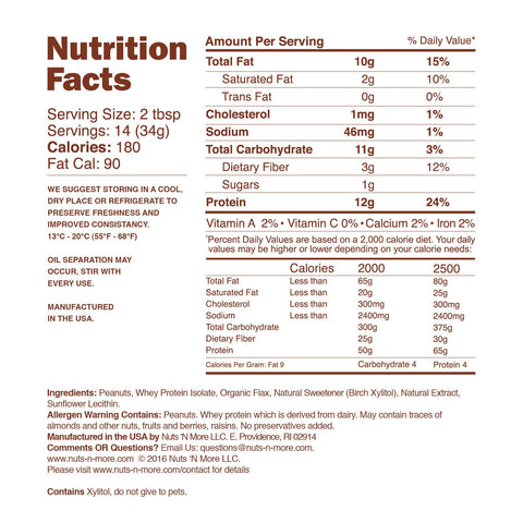 TOFFEE CRUNCH HIGH PROTEIN PEANUT SPREAD Nutrition Facts